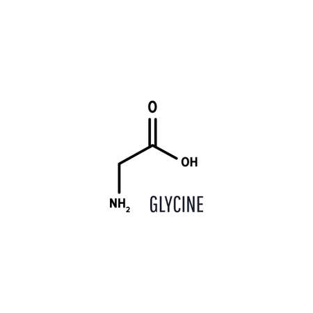 Glycine structural chemical formula with copy space on white background