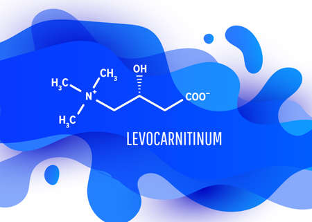 Levocarnitinum structural chemical formula with blue liquid fluid gradient shape with copy space on white background