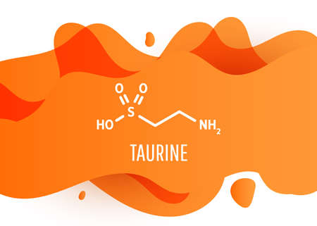 Taurine structural chemical formula with orange liquid fluid gradient shape with copy space on white background