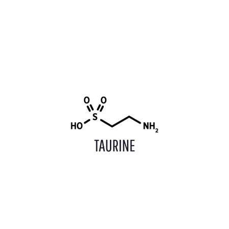 Taurine structural chemical formula on a white background