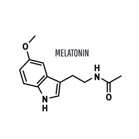 Melatonin structural chemical formula on a white background Ilustração