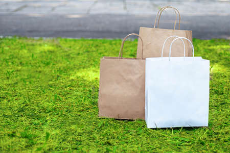 Paper bags on the grass. Say no to plastic bags. Delivery of goods and products concept. Imagens