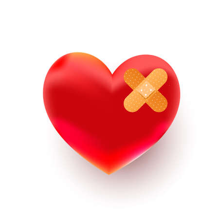 Broken red heart shape with bandage on white background, top view. Space for text 向量圖像