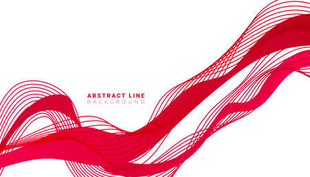 Trendy minimal background with red line fluid shapes on white background Ilustração
