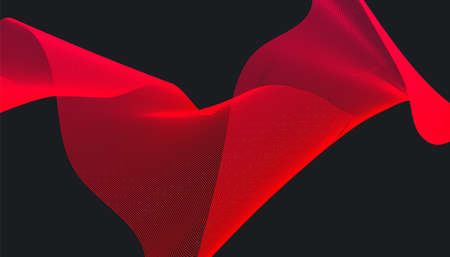 Abstract red gradient dynamic wave design on dark background