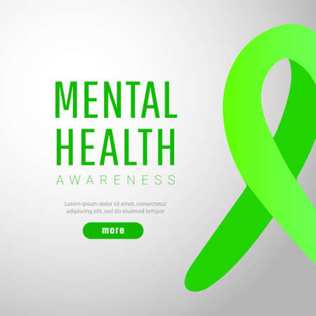 World mental health day concept, green awareness ribbon with copy space for text.