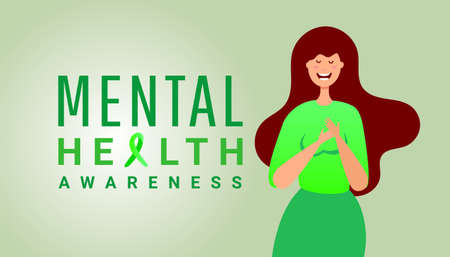 Cartoon young girl shows hands save sign on green background with copy space. World mental health day concept.