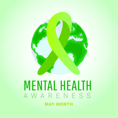 World mental health day concept. Green awareness ribbon with world map shape on a green background