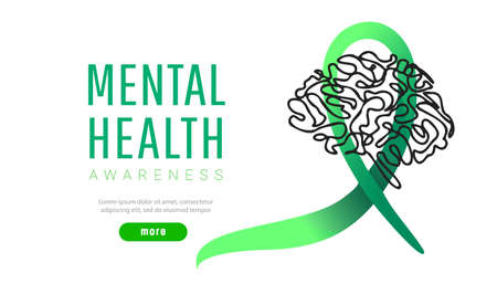 World mental health day concept. Green awareness ribbon with line brain icon or shape on white background