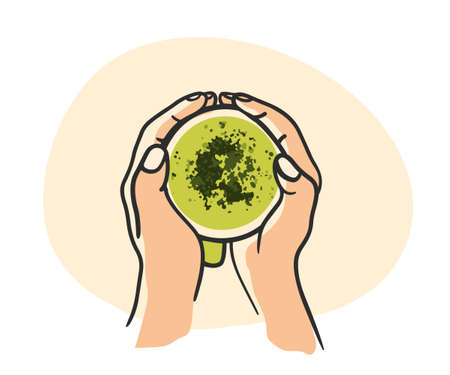 Woman hands holding cup matcha green tea latte on a white background. Vector flat illustration.Top view, flat lay