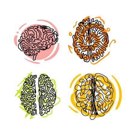 Brainstorming creative idea icon logo set isolated on white background