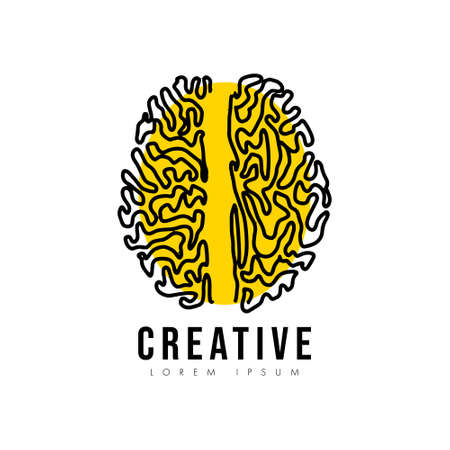Creative line brain vector icon illustration with yellow circle isolated on white background, Symbol of innovation, idea, mind, thinking, solution, education