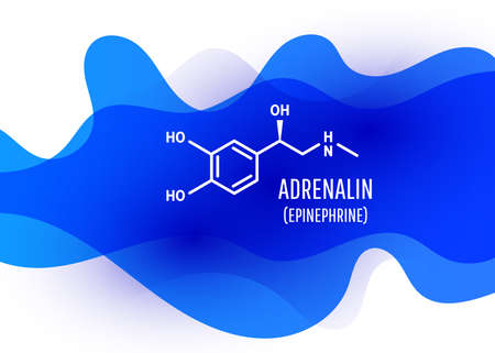 adrenalin chemical formula with liquid fluid shapes on white background. Vector illustration Ilustrace