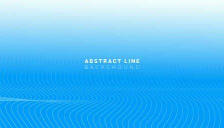 Minimal art flowing abstract white wave lines on blue background. Motion abstract poster for cover, placards, poster, banner or flyer