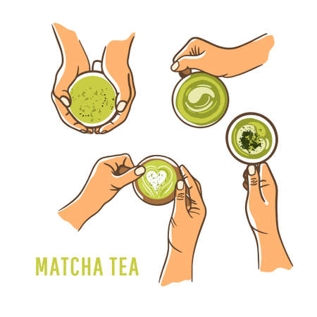 Set of woman hands holding cup green matcha on white background. Dairy free food concept