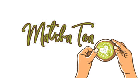 Woman hands holding cup matcha green tea latte with hand drawn text on white background. Top view, flat lay, vector flat illustration.
