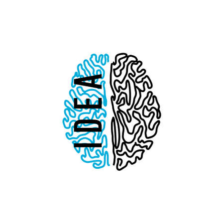 Human brain vector icon illustration isolated on white background, Innovation symbol, idea, thoughts, thinking, education concept