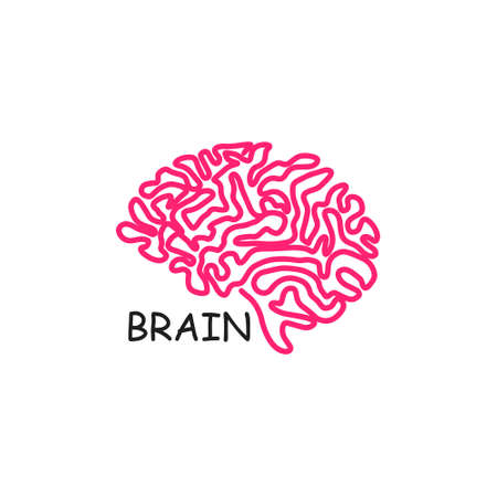 Human brain vector icon illustration isolated on white background. Innovation symbol, idea, thoughts, thinking, solution, education concept