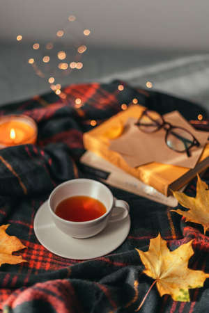 Hot cup of tea with autumn leaves, a stack of books and a light garland decor on a brown plaid in the bed. Comfort and relaxation concept.