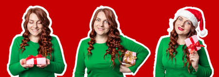 Pretty woman in Santa hat with christmas gift box on red wall. New year celebration banner 版權商用圖片 - 158085988