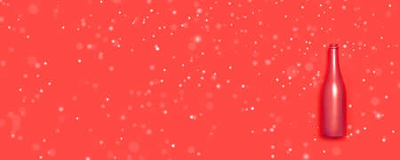 Flat lay of open golden bottle of champagne on red background with white snow, empty place for text. Happy holiday celebration concept 版權商用圖片 - 158155702
