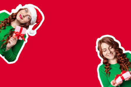 Web banner with cute girls in santa hat and gifts on red background with place for text 版權商用圖片