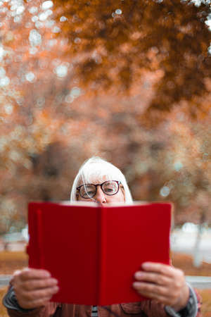 Closeup of thoughtful concentrated senior woman in glasses and casual clothes is reading a book while relaxing in the park