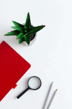 Red notebook, plant, smartphone, wireless headphones and pencils on a white plain minimalistic background with copy space. Freelance office workplace work concept with business accessories