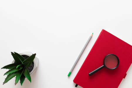 Creative layout made of red notebook, green eco plant, pencil on white plain minimalistic background with copy space. Freelance office workplace work concept Stock Photo