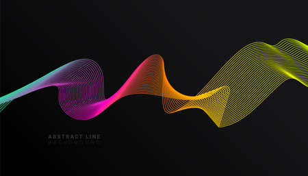 Abstract stylish modern banner design with trendy multicolor gradient wave on dark background. Fluid gradients for banners, posters, covers. Çizim