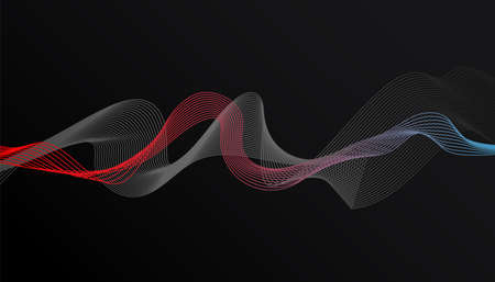 Modern colorful wave shape design on dark background