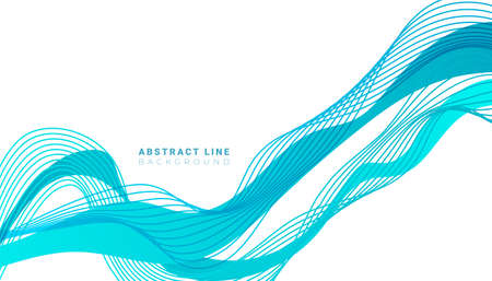 Futuristic minimal flowing blue line shapes on a white background. Abstract wallpaper for design brochure, website, flyer.