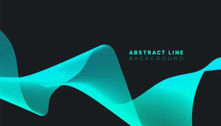 Abstract blue wave lines dynamic flowing isolated on black background. Vector illustration design element