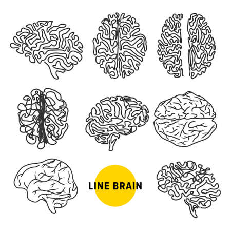 Line art style brainwave silhouette  icons isolated on white background. Brainstorming, mind concept Illustration