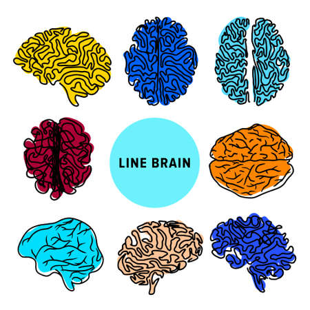 Colored line style brainwave silhouette   icons isolated on white background. Brainstorming concept Illustration