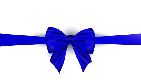 Decorative gift bow and and satin ribbon on a white background. Decor for poster, greeting cards, headers, website for Happy women, father, birthday greeting card 向量圖像