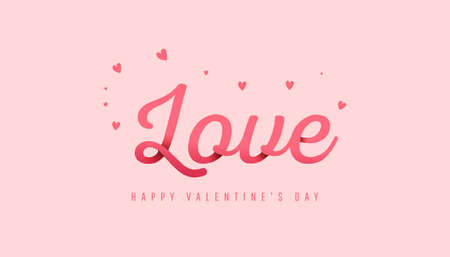 Trendy minimal composition with love paper text on powdery background. Decorations for Valentine day. Can be used for flyers, invitation, poster, brochure, banner, wallpaper 向量圖像