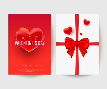 Sweet heart decor shape with surprise gift bow on white postcard background with text. Cute greeting card set for Happy Valentine Day. Vector illustration. Love concept