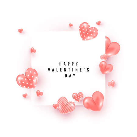 Minimal valentines day banner with realistic cute airy love decor around square frame on white background. Can be used for flyers, invitations, posters, brochures and web banners. 向量圖像
