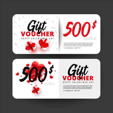 Shopping gift cards template set with foil sweet love shape and 500 dollar numbers. Discount gift card coupon. Happy Valentine day congratulation