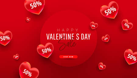 Valentines sale vector banner template with realistic hearts elements decor on red background. Vector illustration 向量圖像