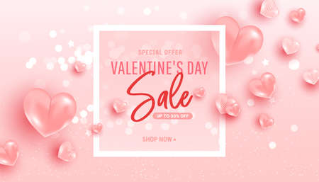 Happy saint valentine day sale background with air heart shaped balloons. Minimal frame. Vector illustration 向量圖像