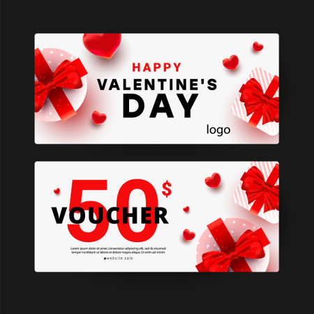 Gift voucher discount template with realistic surprise gift boxes, love shape decor. Discount 50 gift card. Valentines day sale banner. Vector illustration.