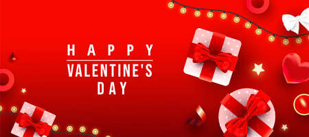 Realistic gift boxes, love shape, glitter gold stars decor, candles with congratulation text on red gradient background. Happy Valentine day horizontal website header or banner, holiday poster.