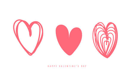 Collection of decorative heart icons isolated on white background 向量圖像