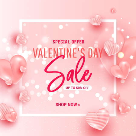 Valentines day sale background with 3d pink hearts shaped balloons on pinky background. Falling gold festive confetti. Vector illustration 向量圖像