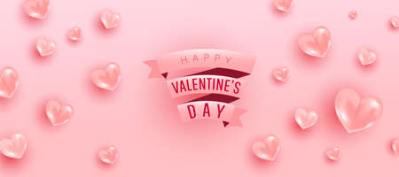 Happy valentine day background design of realistic 3d render bauble love shape and pink gift ribbon text. Love is banner. Horizontal minimal poster, greeting card, headers for website