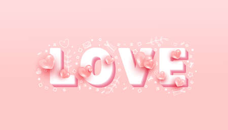 Minimal text with 3d realistic flying love shapes on a pink background. Vector illustration
