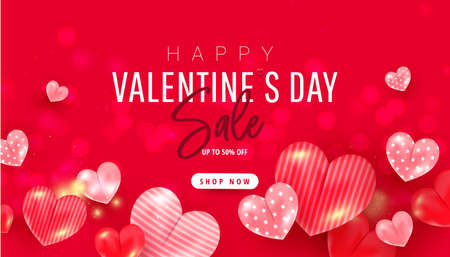 Valentine Day Sale template banner or background with 3d realistic flying hearts and calligraphy words text on red background.