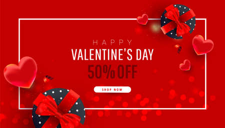 Happy Valentine day horizontal sale frame composition. Bright surprise gifts with heart, ribbon decor and text on red background. Vector illustration